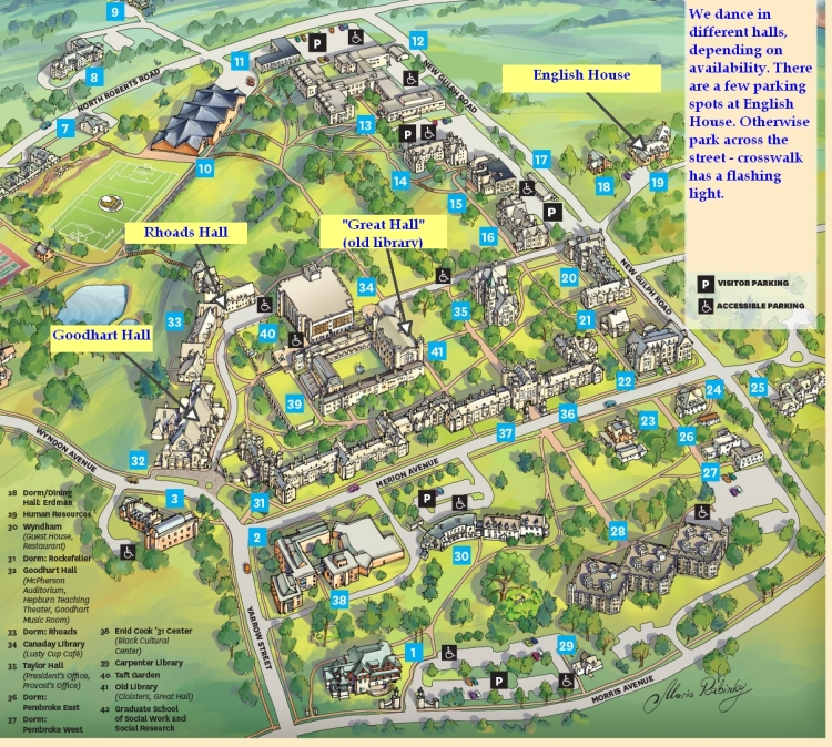 Campus map of Bryn Mawr College, with practice locations noted